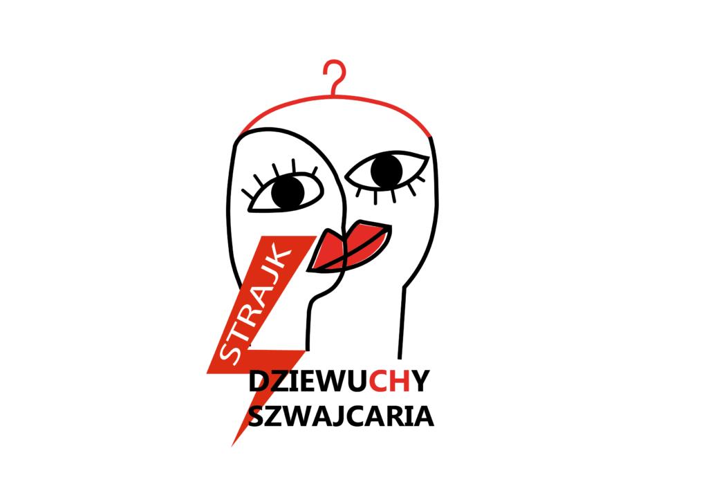 """Logo organizacji DziewuCHy Szwajcaria: twarze dwoch kobiet zlewajace sie w jedna twarz, polaczone wieszakiem, na lewo na dole czerwona blyskawica z napisem """"strajk"""", na dole napis """"DZIEWUCHY SZWAJCARIA"""""""